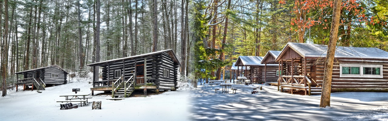 cabins in the snow